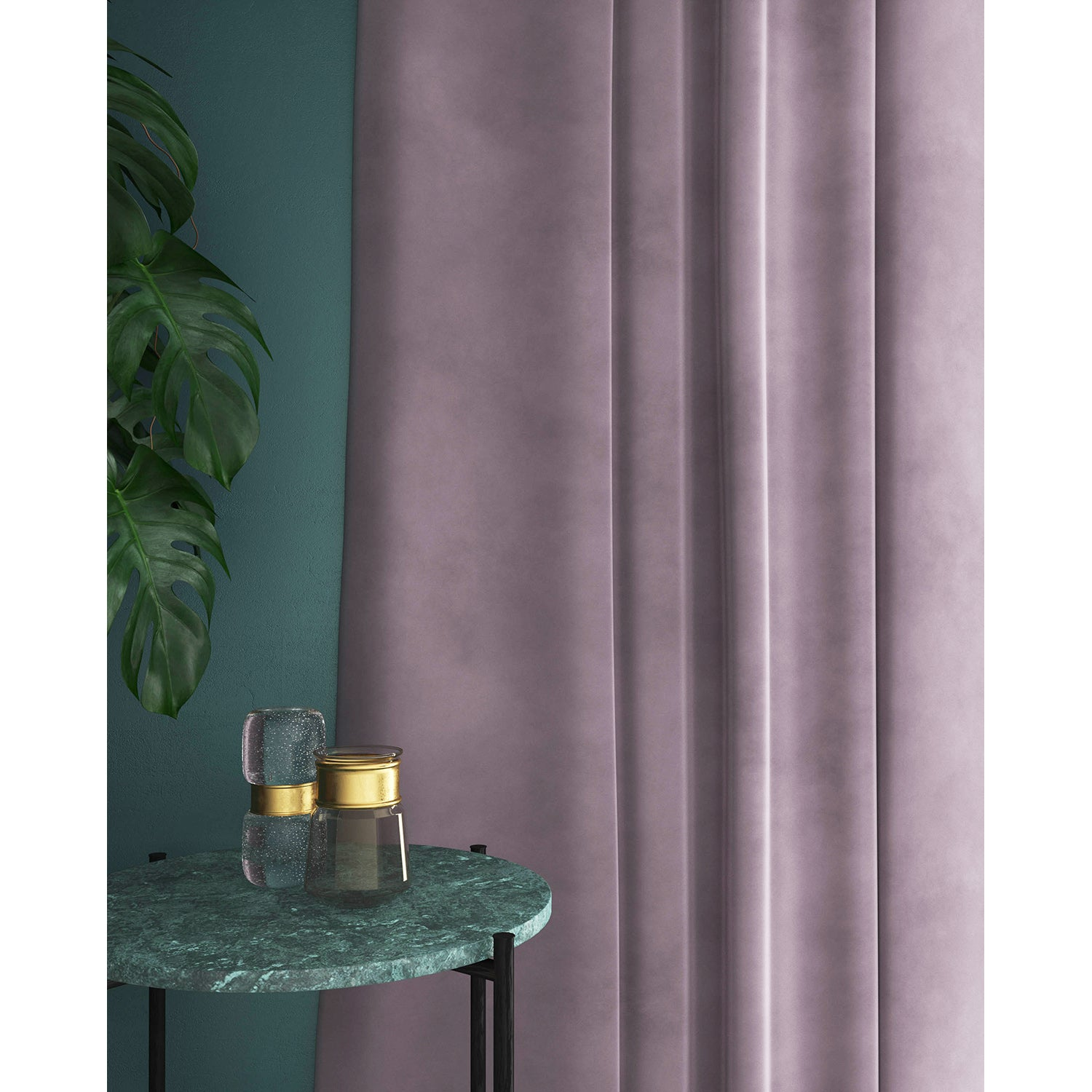 Lilac velvet curtains with a stain resistant finish