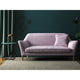Sofa in a luxury lilac velvet upholstery fabric with a stain resistant finish