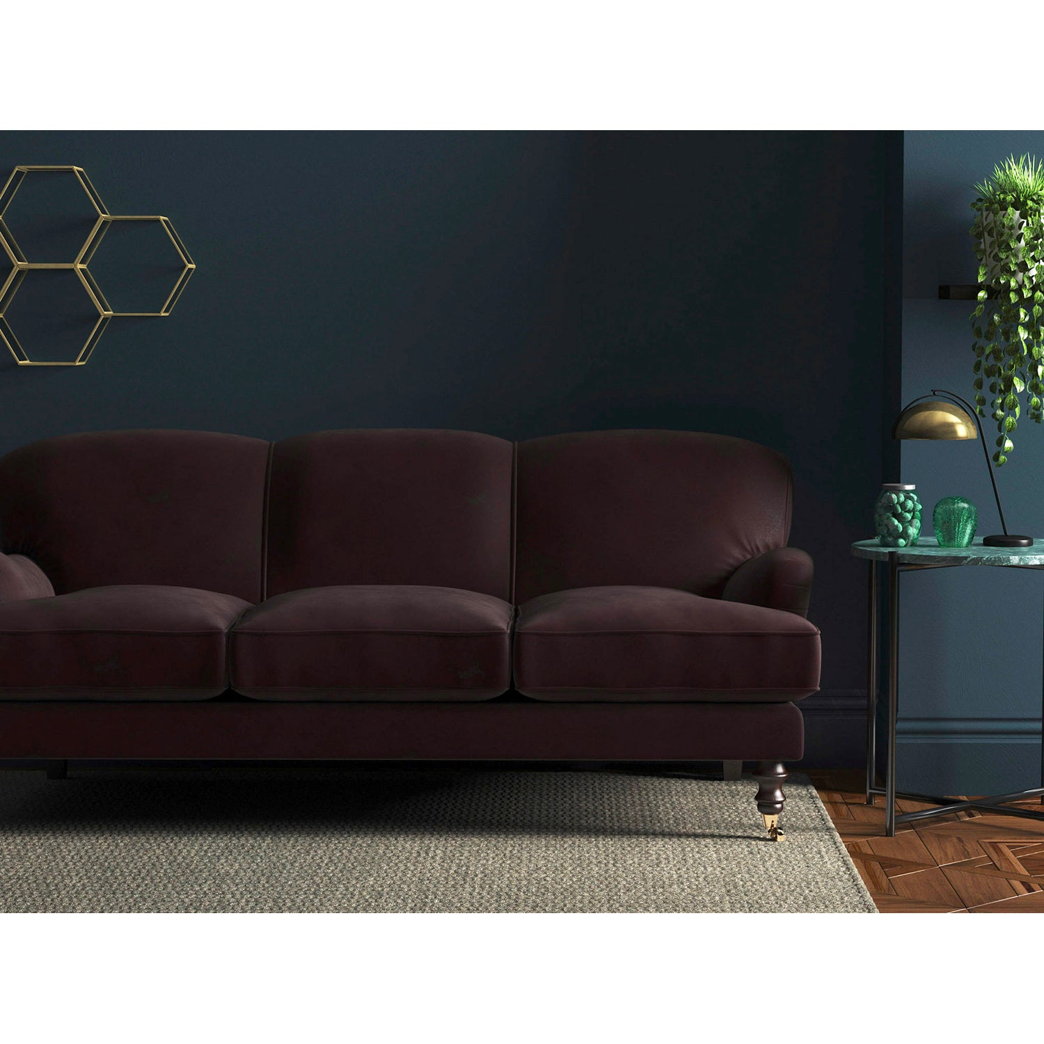 Dark purple velvet sofa with a stain resistant finish