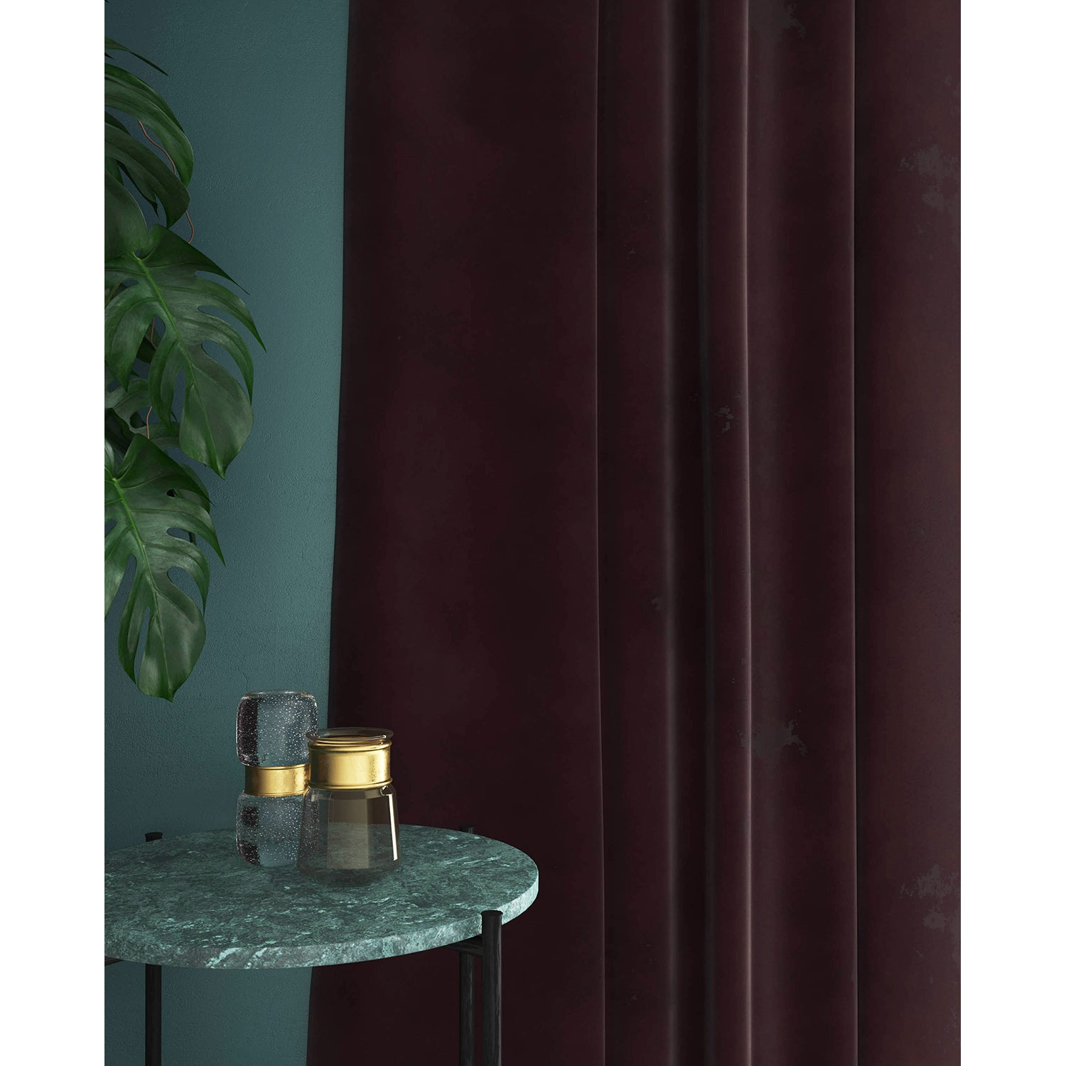 Curtains in a deep purple plain velvet fabric with a stain resistant finish