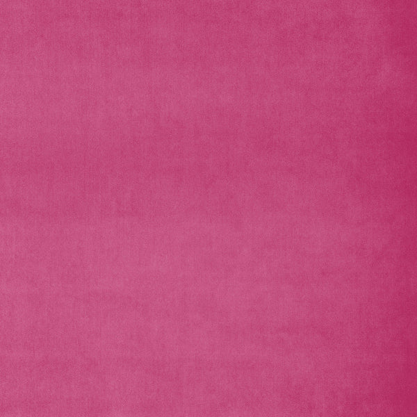 Fabric swatch of a candy pink luxury velvet fabric for curtains and upholstery with a stain resistant finish