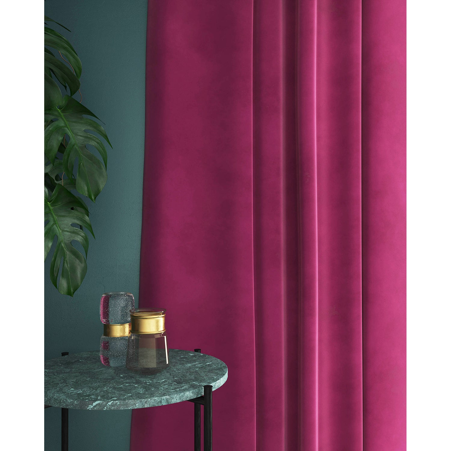 Pink velvet curtains with a stain resistant finish