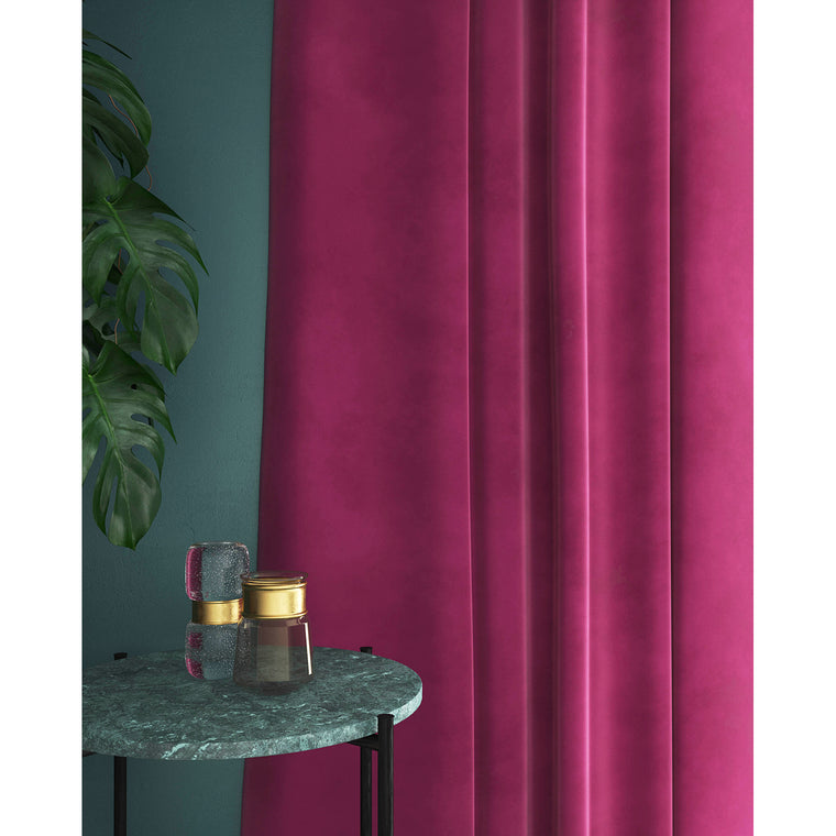 Curtains in a candy pink plain velvet fabric with a stain resistant