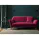 Berry coloured velvet sofa with a stain resistant finish