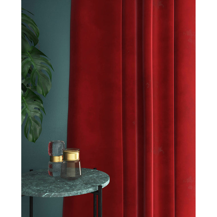 Curtains in pillarbox red plain velvet fabric with a stain resistant finish