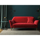 Red velvet sofa with a stain resistant finish
