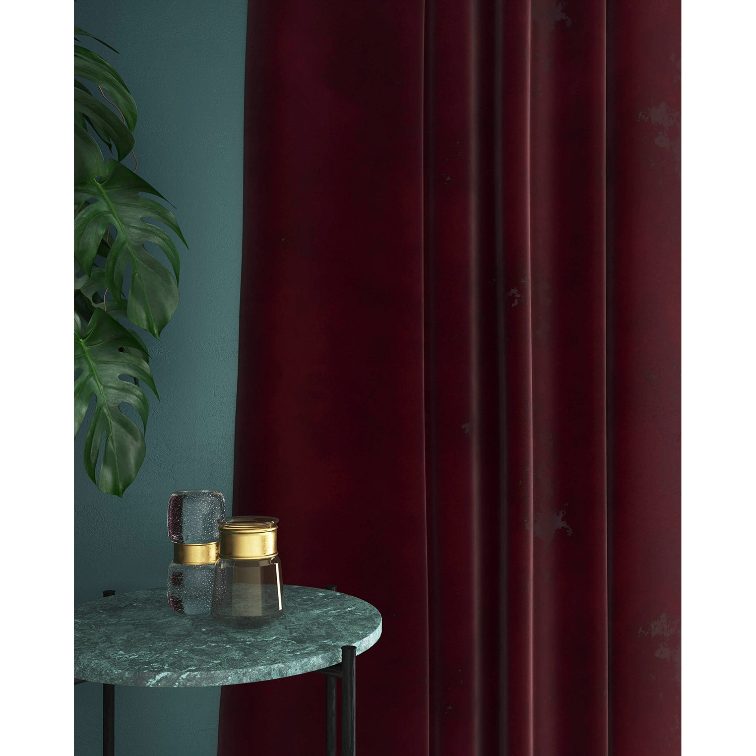 Curtains in a berry red velvet fabric with a stain resistant finish