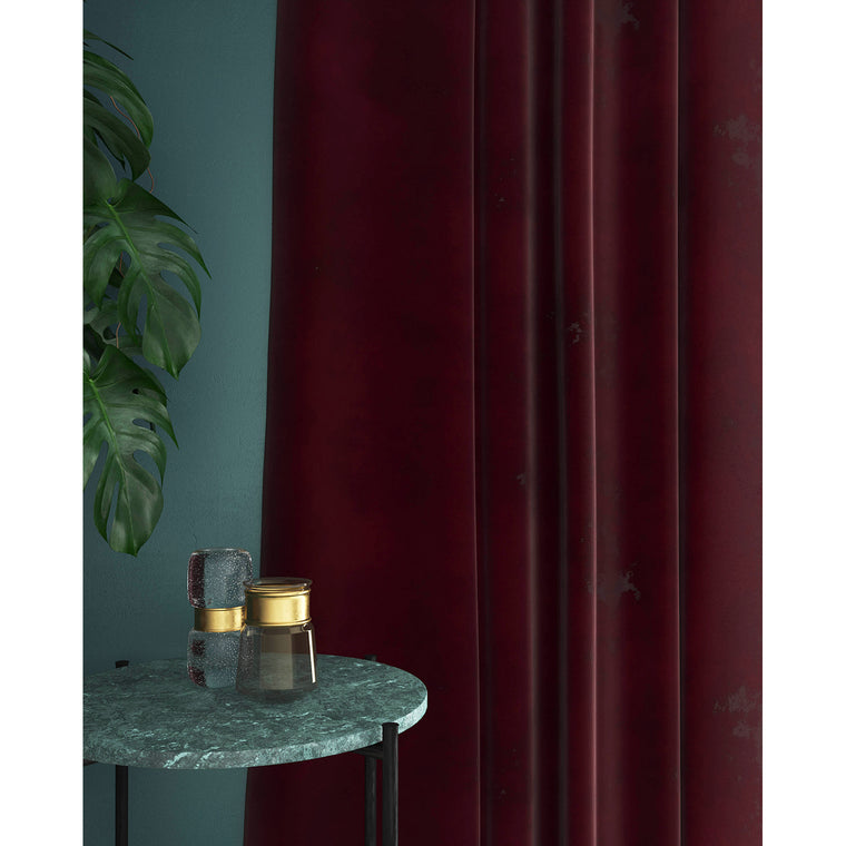 Dark purple velvet curtains with a stain resistant finish