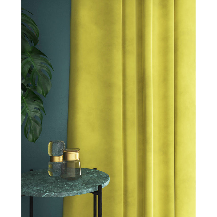 Bright yellow velvet curtains with a stain resistant finish