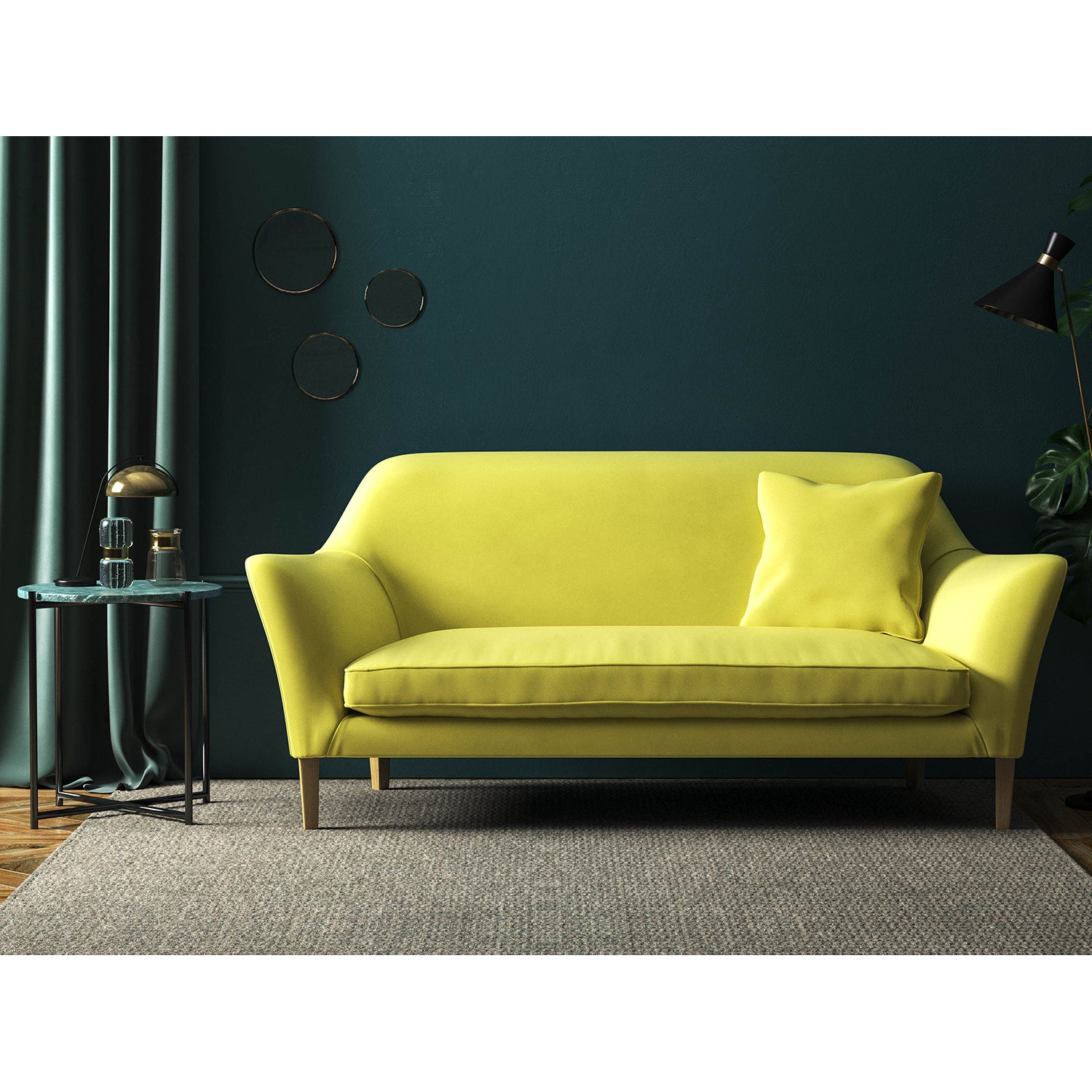 Sofa in a bright yellow velvet upholstery fabric with a stain resist finish