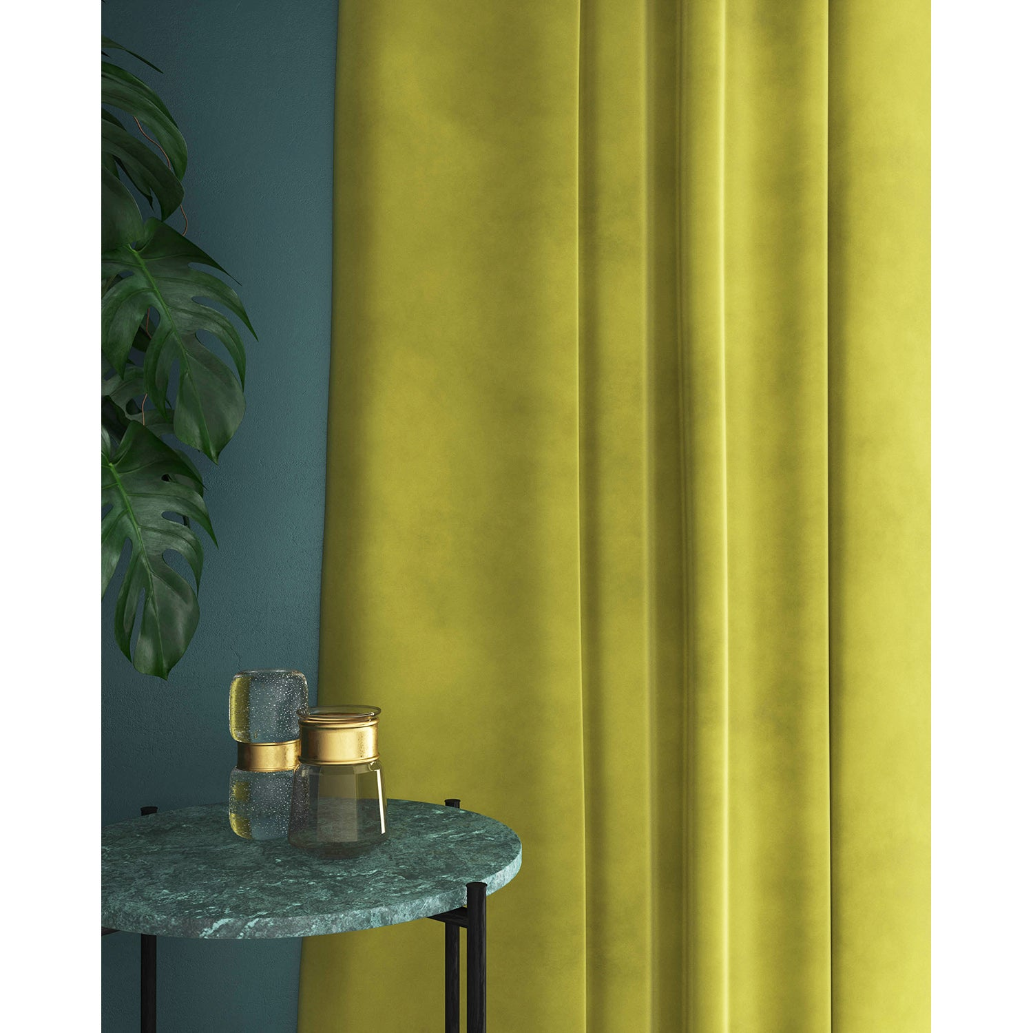 Curtains in a yellow toned green velvet fabric with a stain resist finish