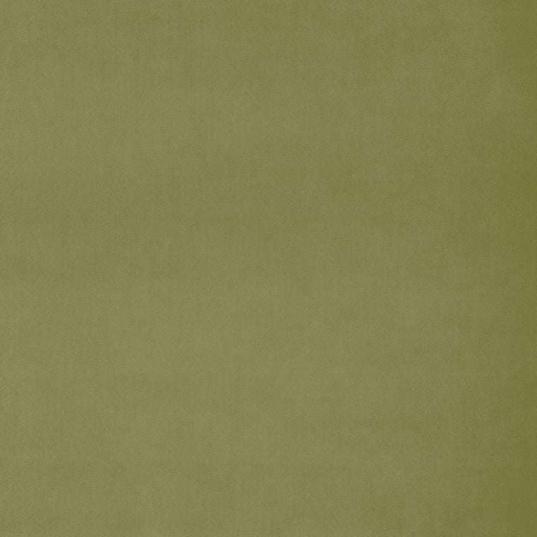 Fabric swatch of a plain green velvet fabric for curtains and upholstery with a stain resistant finish