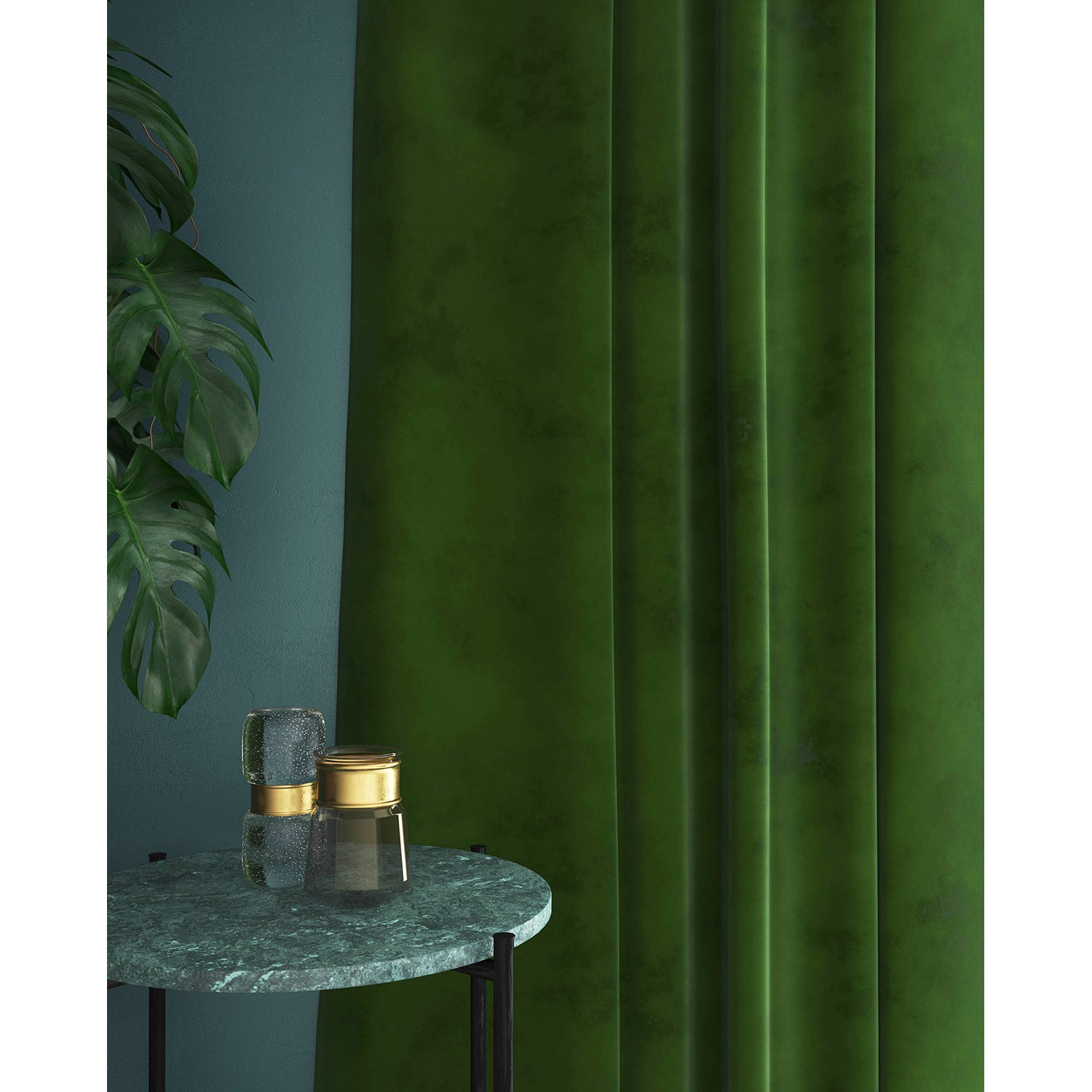 Curtains in a luxury green velvet fabric with a stain resist finish