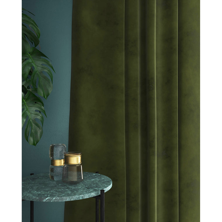 Dark green velvet curtains with a stain resistant finish