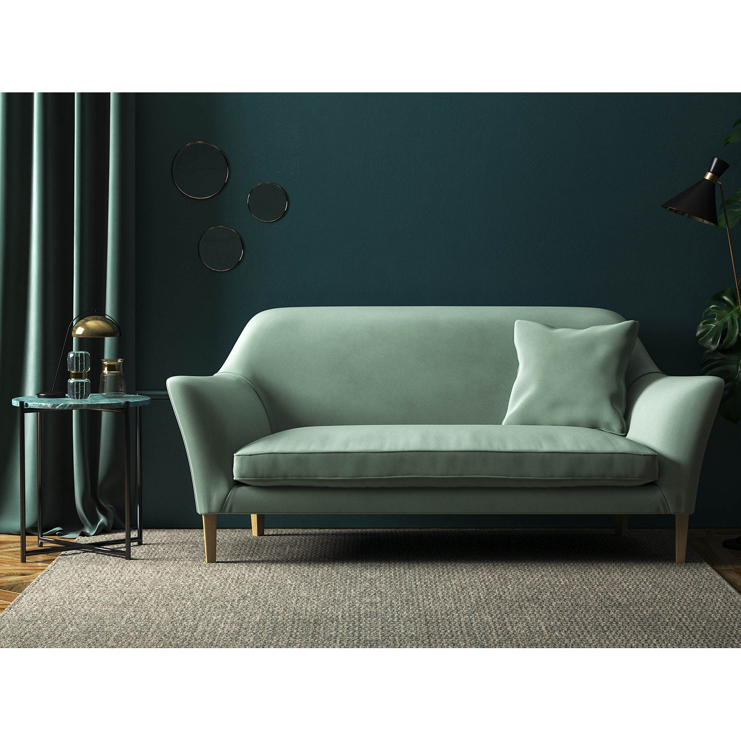 Sofa in a duck egg blue plain velvet upholstery fabric with a stain resistant finish