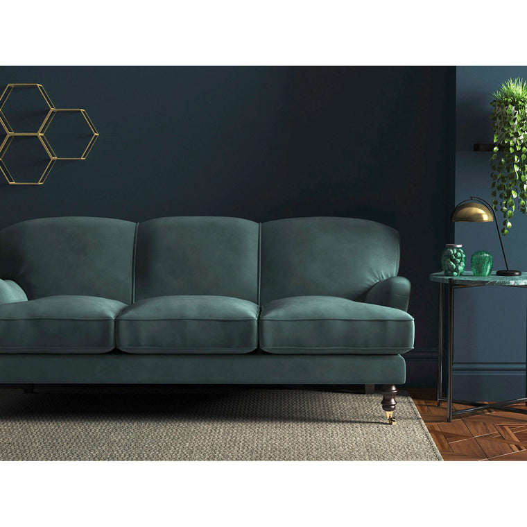 Sofa in a luxury teal velvet upholstery fabric for contract and domestic use