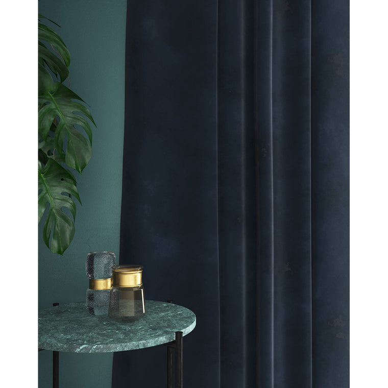 Dark Blue velvet curtains with a stain resistant finish