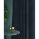 Curtains in a dark blue luxury velvet fabric with a stain resist finish
