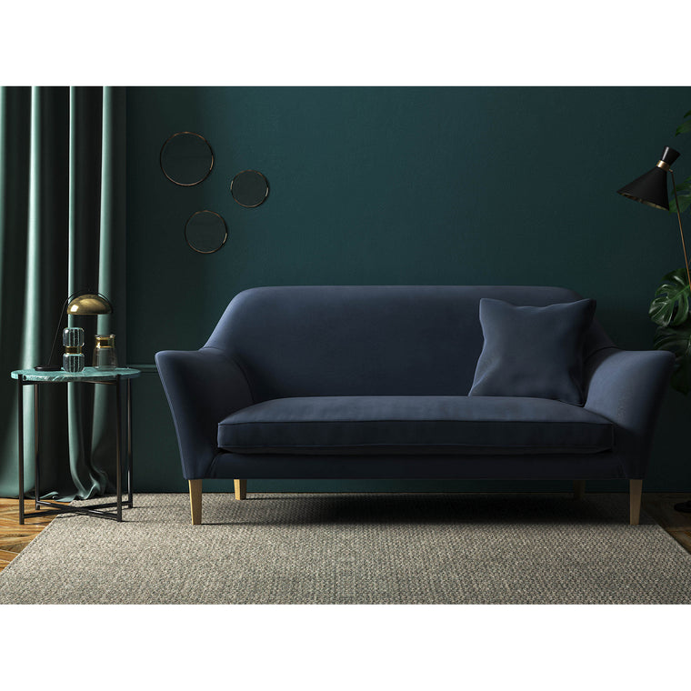 Dark Blue velvet sofa with a stain resistant finish