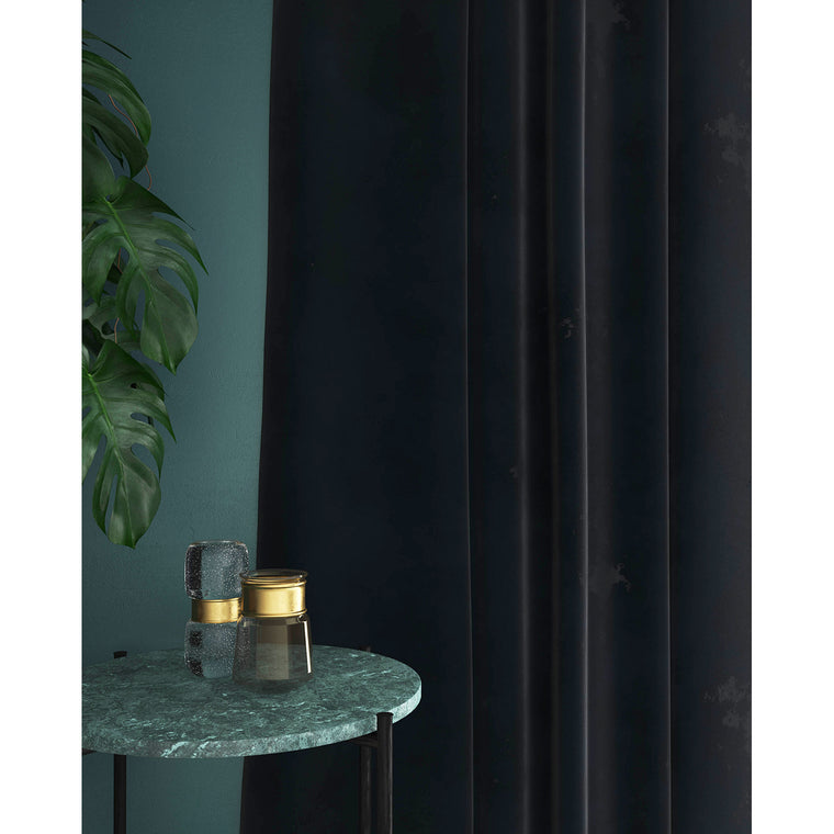 Navy velvet curtains with a stain resistant finish