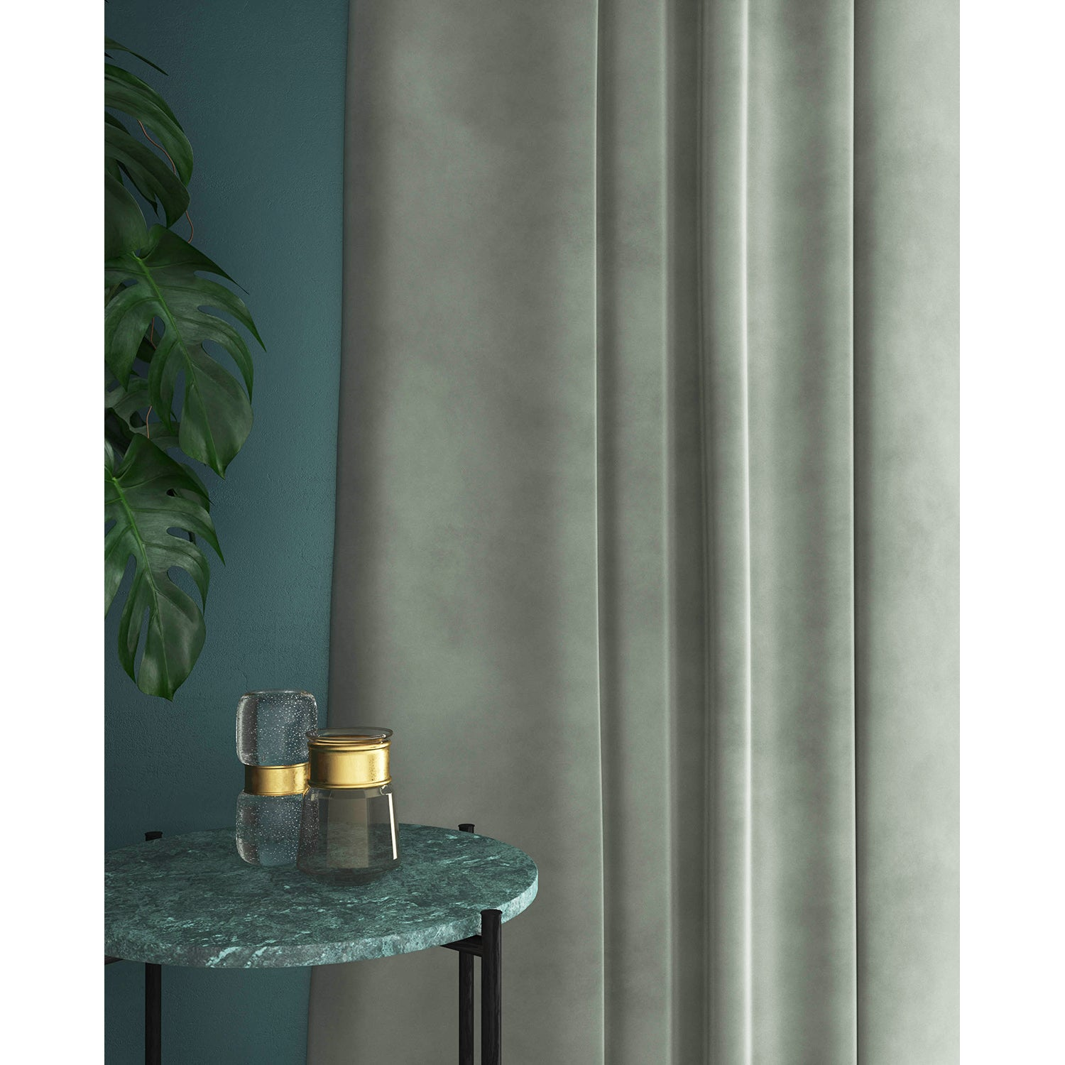 Curtains in a light grey plain velvet fabric with a stain resistant finish