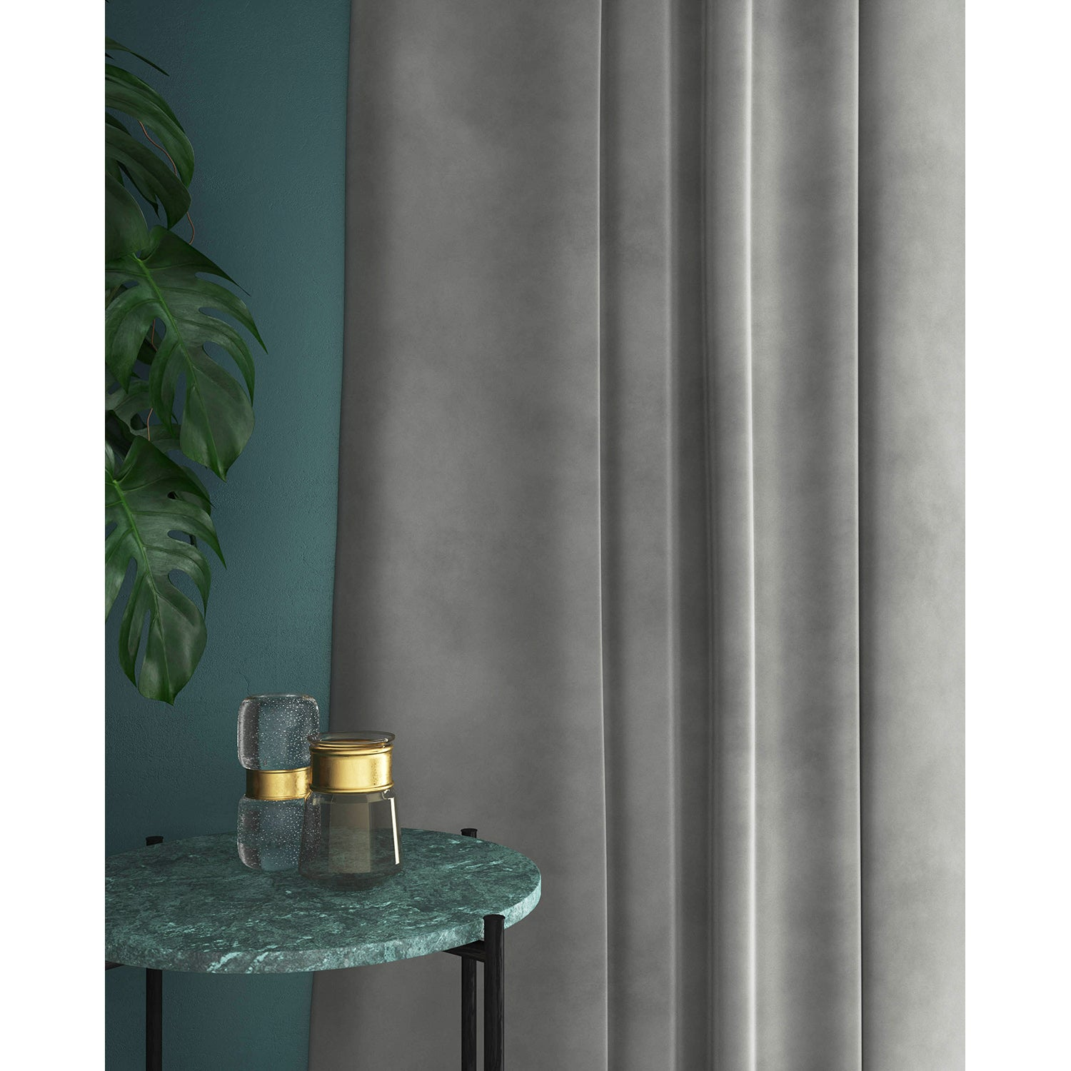 Curtains in a plain grey velvet fabric with a stain resistant finish