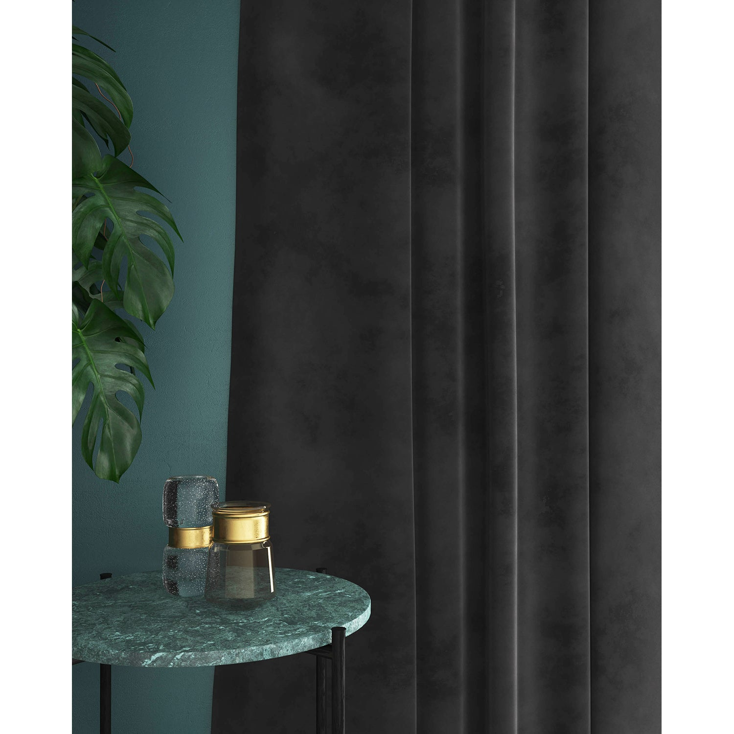 Curtain in a dark grey velvet fabric with a stain resistant finish