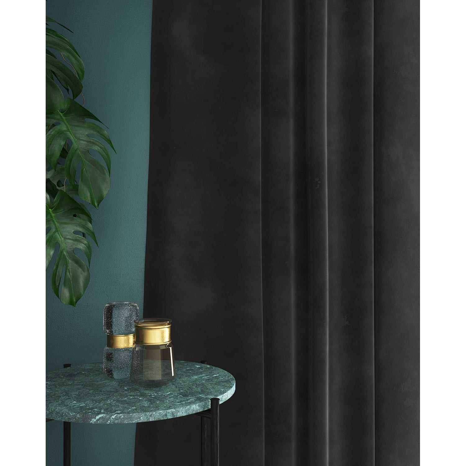 Curtains in a luxury grey velvet fabric for contract and domestic use