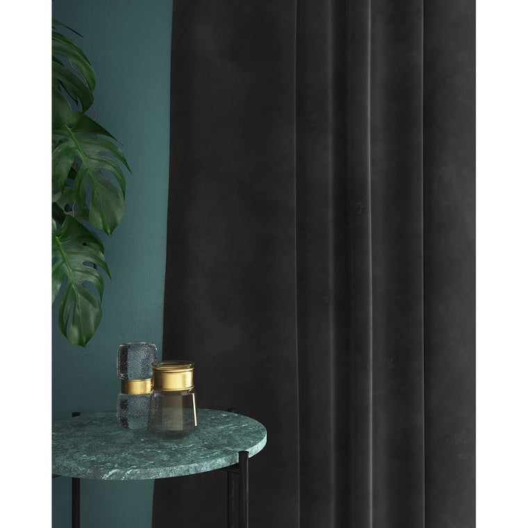 Dark grey velvet curtains with a stain resistant finish