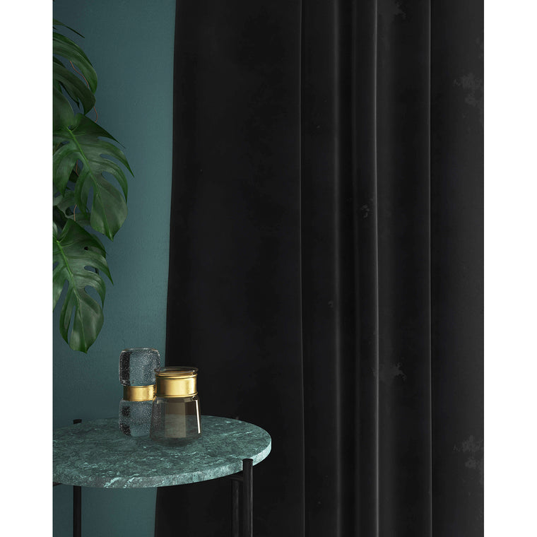 Black velvet curtains with a stain resistant finish