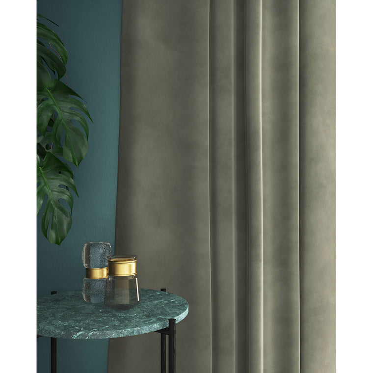 Light grey velvet curtain for domestic and contract use