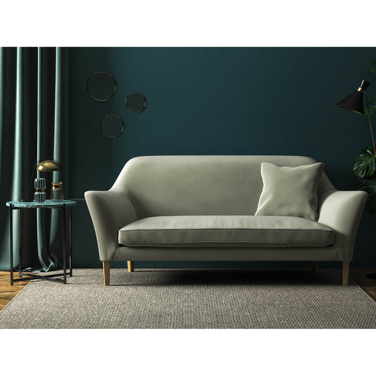 Sofa in a luxury plain grey stain resistant velvet upholstery fabric