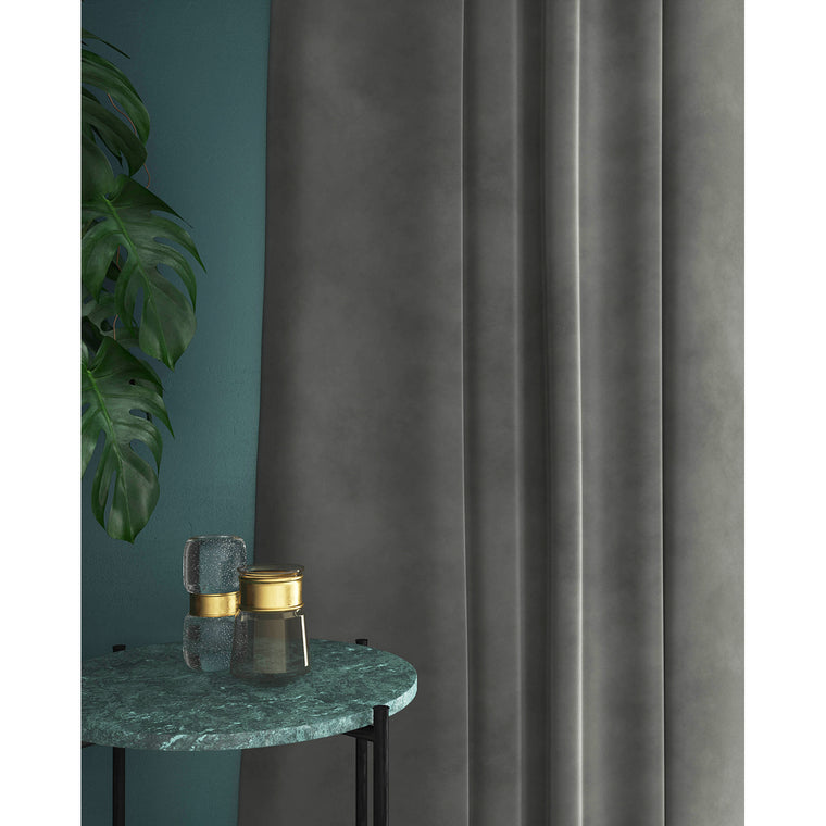 Grey velvet curtains with a stain resistant finish