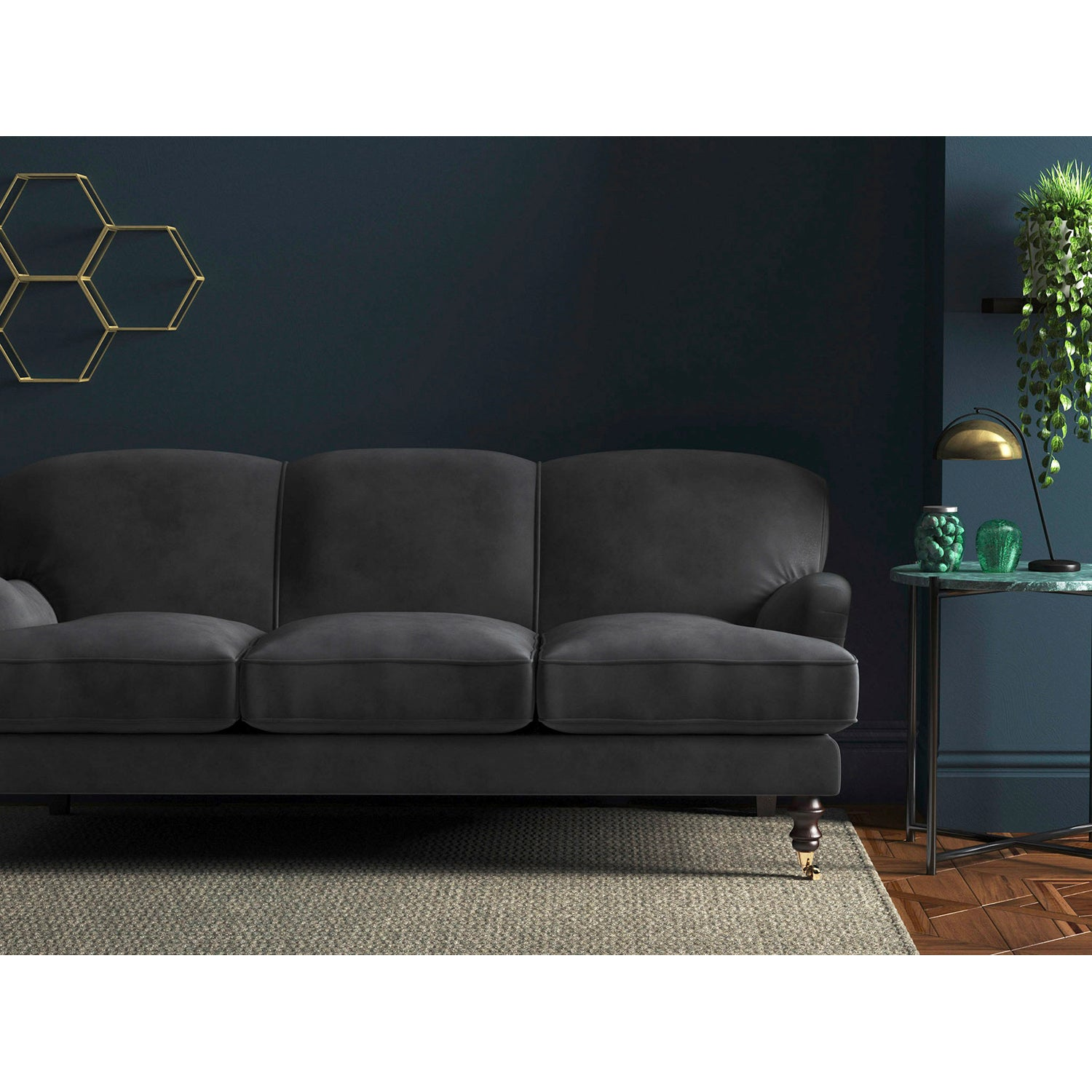 Sofa in a blue-toned grey luxury plain velvet upholstery fabric for domestic and contract use