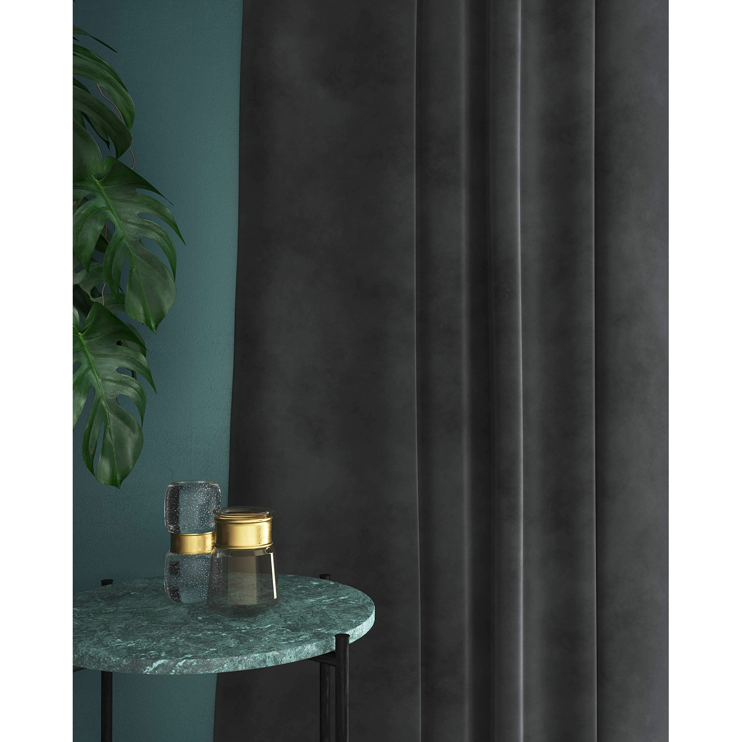 Curtain in a plain grey velvet fabric for domestic and contract curtains