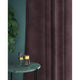 Mauve velvet curtains with a stain resistant finish