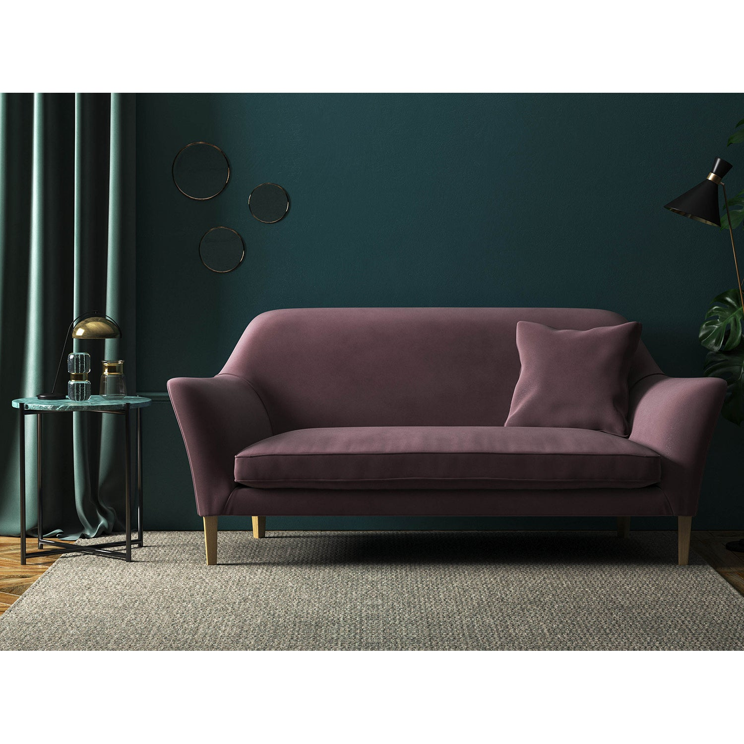 Sofa in a luxury mauve plain velvet fabric for domestic or contract curtains and upholstery