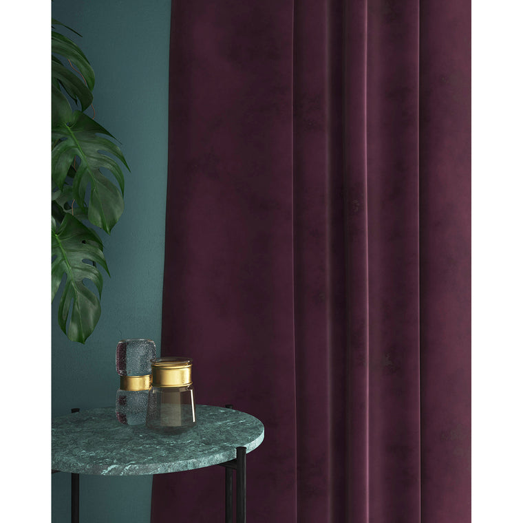 Purple velvet curtains with a stain resistant finish