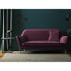 Sofa in a purple plain velvet upholstery fabric for contract and domestic use
