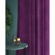 Curtain in a bright purple plain velvet fabric with a stain resistant finish