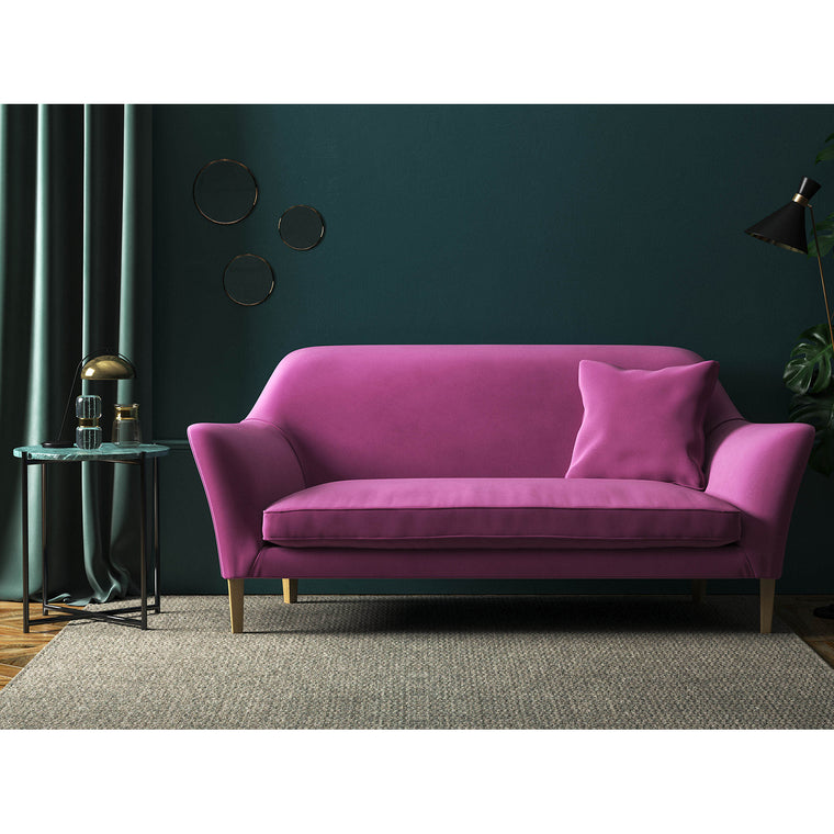 Sofa in a luxury purple velvet fabric for contract and domestic use