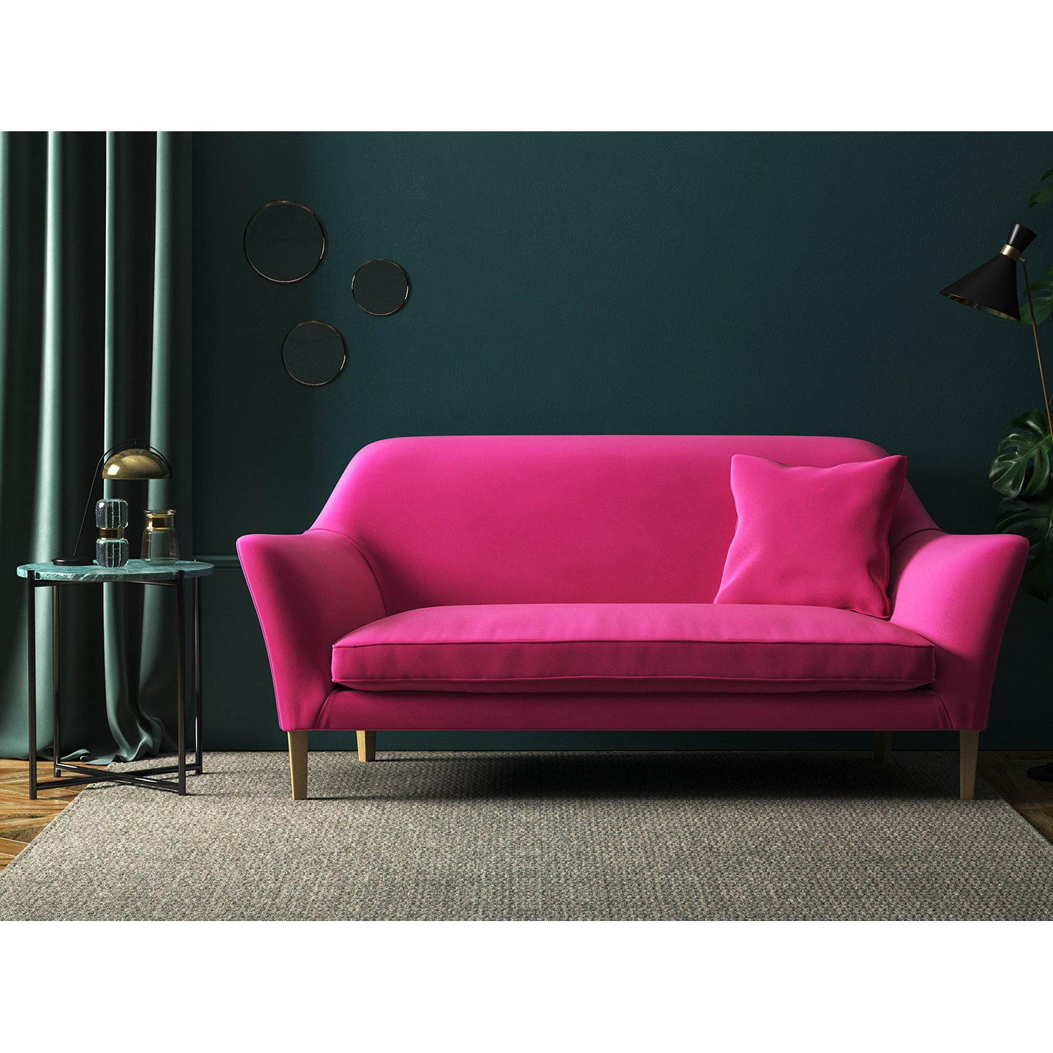 Pink velvet sofa with a stain resistant finish
