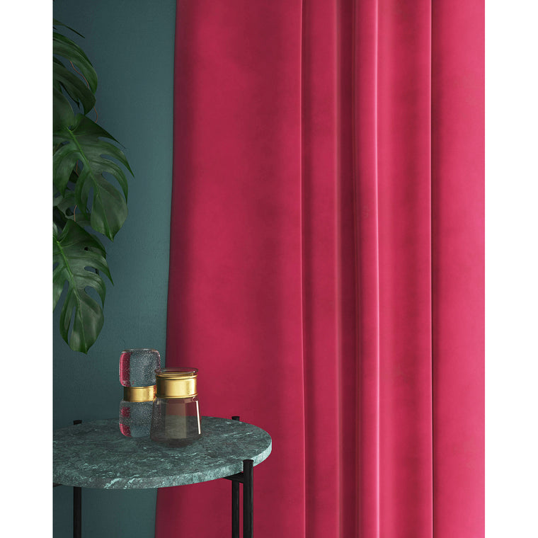 Curtain in a plain bright pink velvet fabric with a stain resistant finish