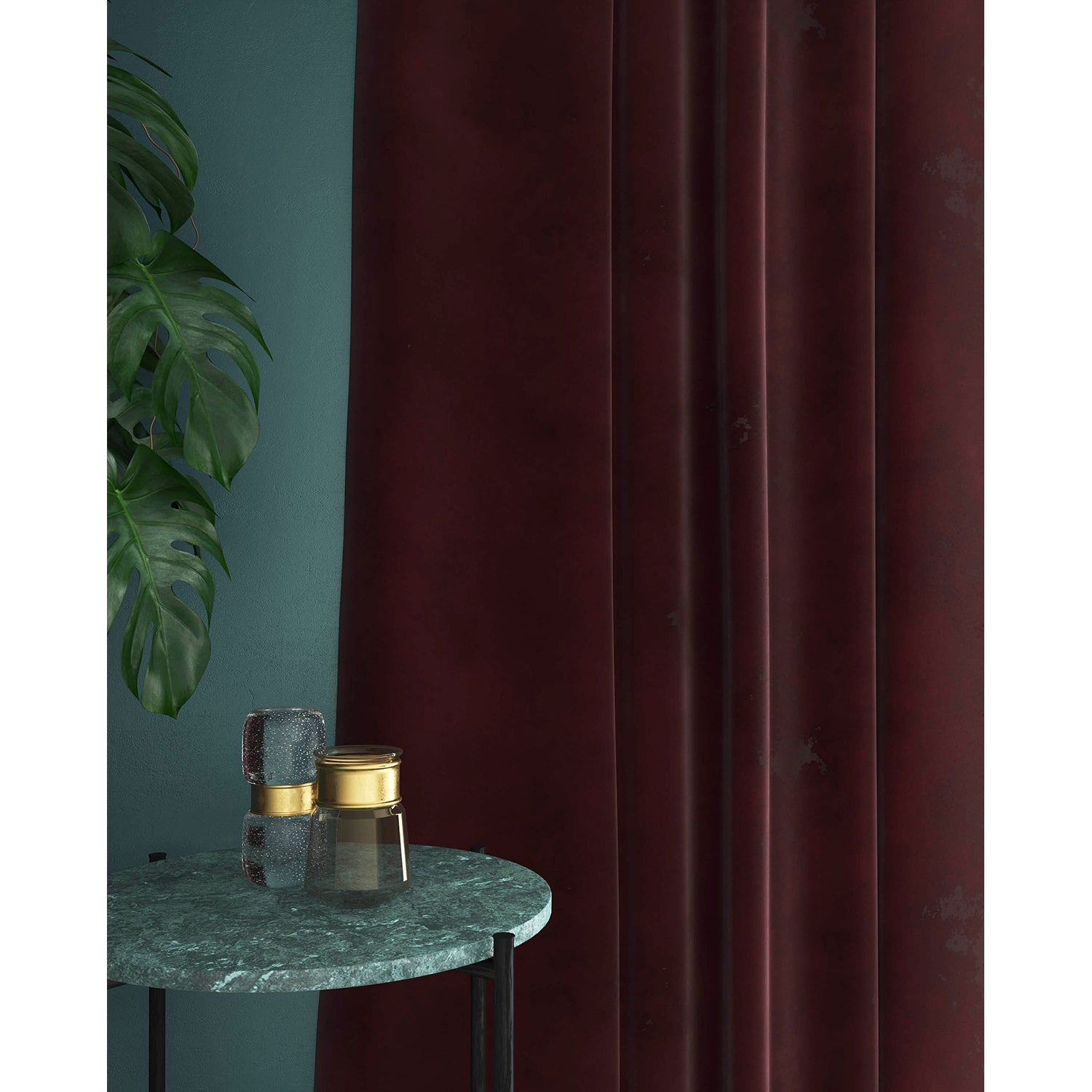 Curtain in a plain deep copper velvet fabric with a stain resistant finish