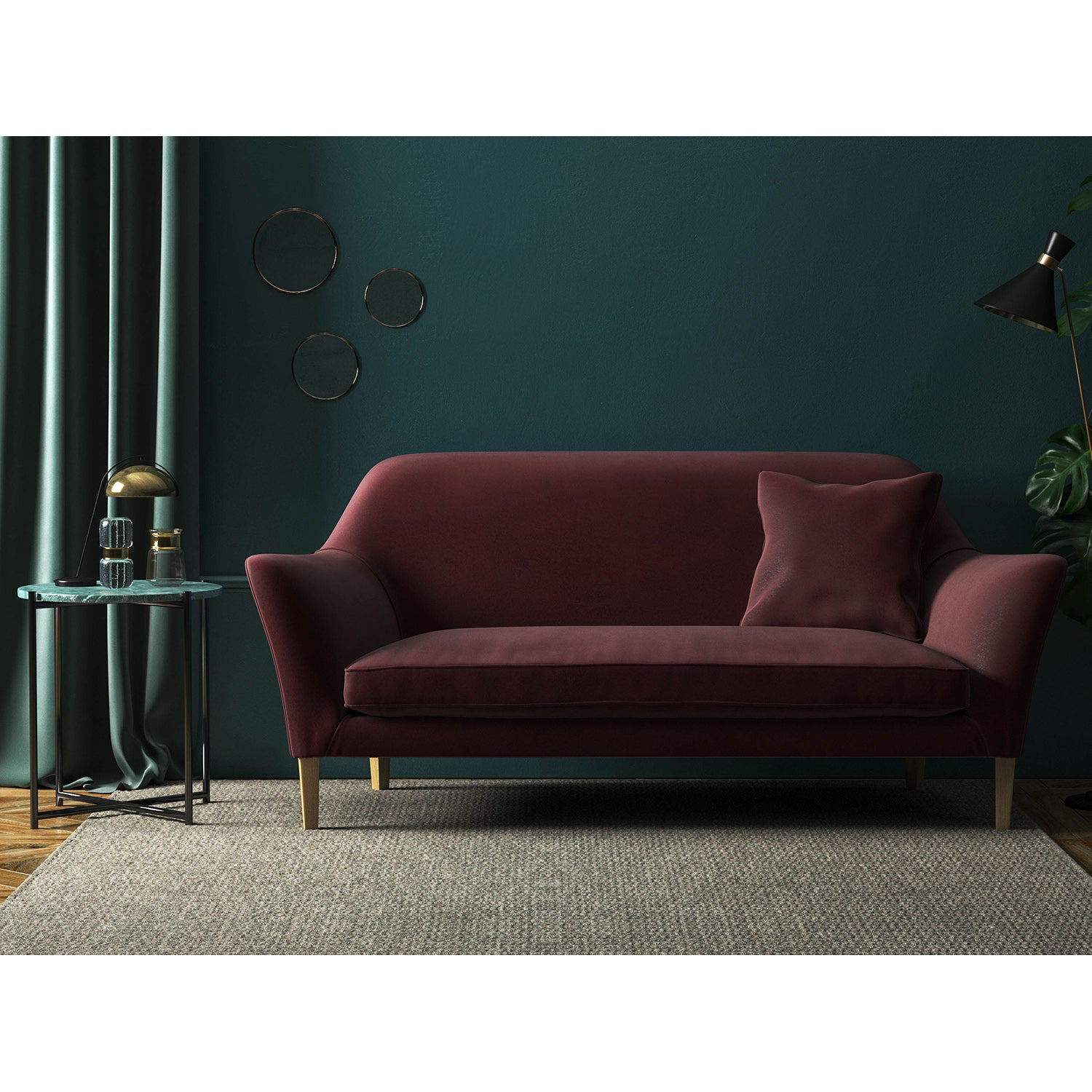 Sofa in a dark copper plain velvet upholstery fabric with a stain resistant finish