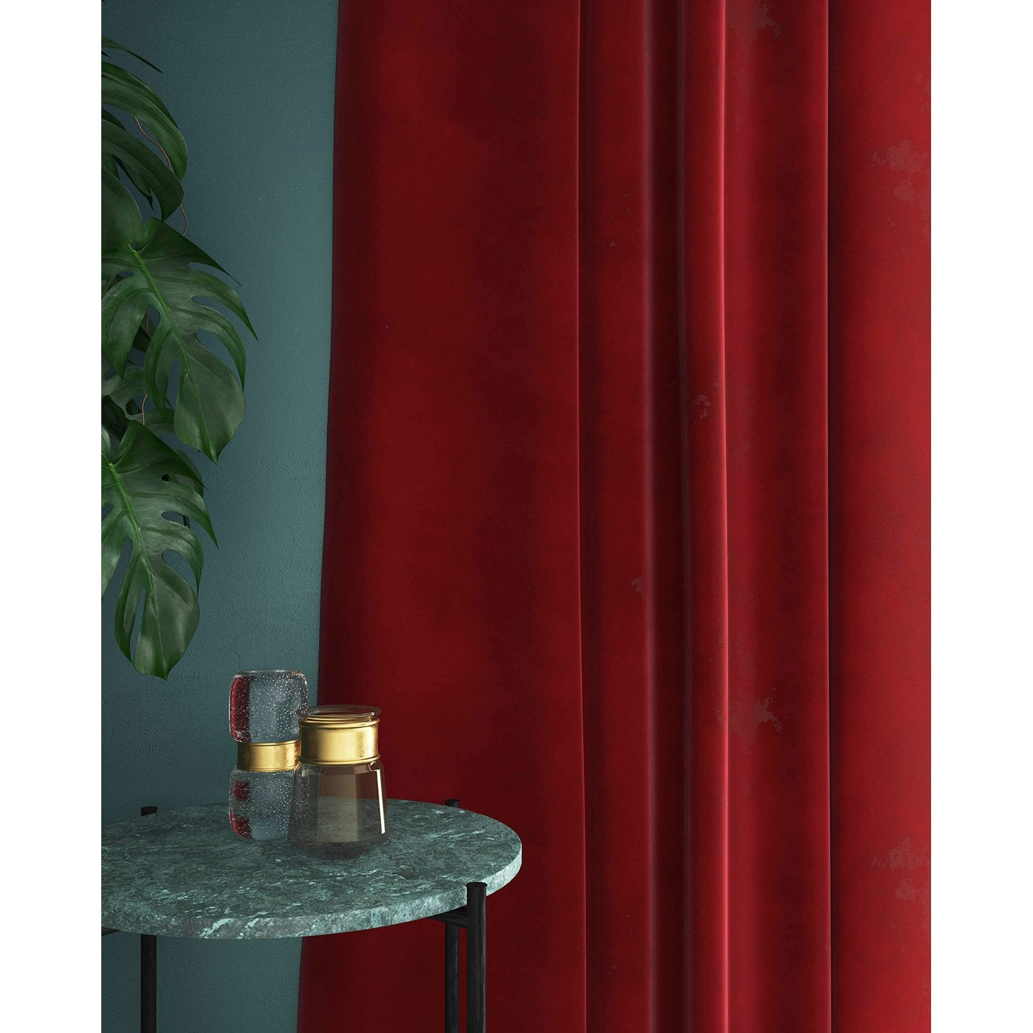 Red velvet curtains with a stain resistant finish