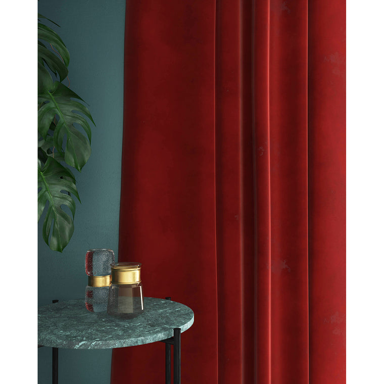 Dark orange velvet curtains with a stain resistant finish