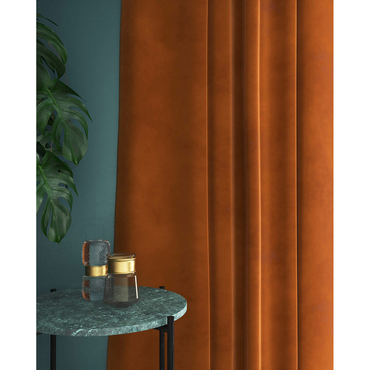 Curtain in a burnt orange plain velvet fabric with a stain resistant finish