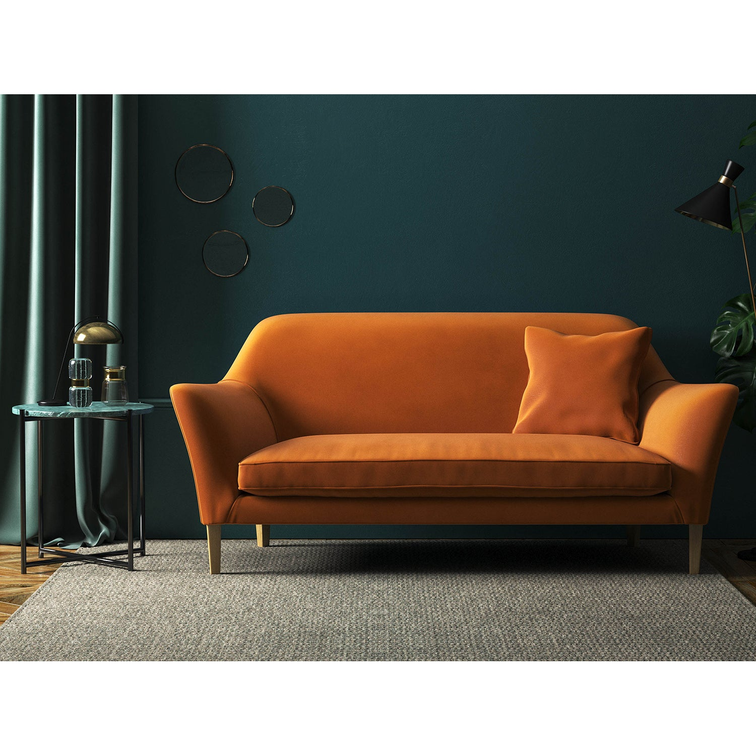 Sofa in a burnt orange plain velvet fabric with a stain resistant finish