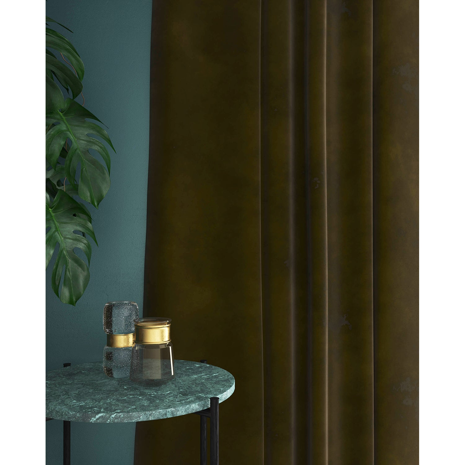 Curtain in a plain khaki green velvet fabric with a stain resistant finish